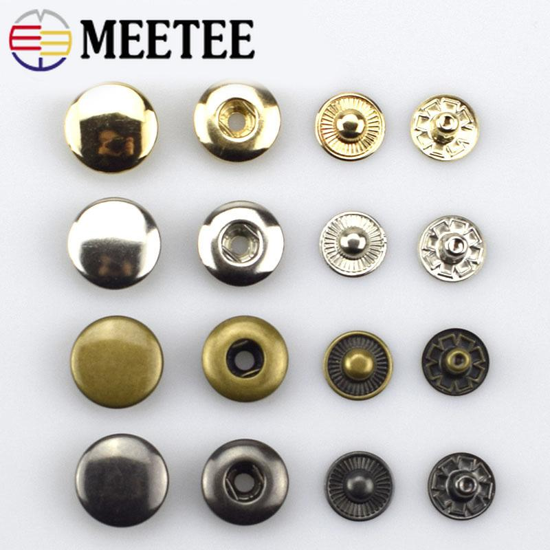 Meetee 15mm Round copper snap button Metal Press Studs Snap Fasteners Clothes Bags Leather Craft Sewing buttons D7-2