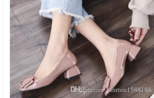 2019 Women's shoes in Spring and Autumn with New style Middle heel Coarse heel Square head@02