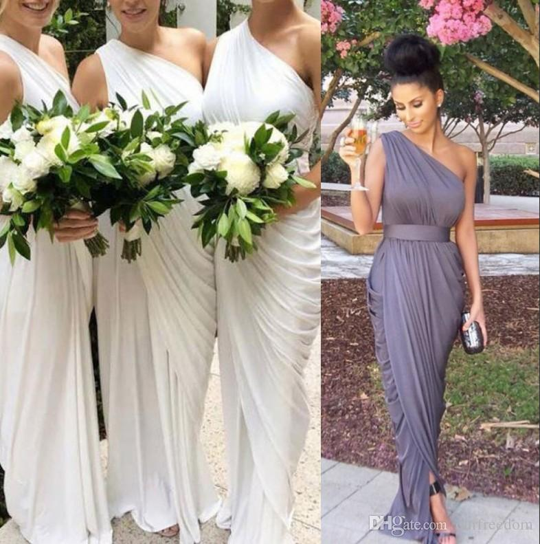 One Shoulder Draped Side Slit Bridesmaid Dress with Belt 2020 Sheath Maid Of Honor Wedding Guest Gown For Country Wedding Wear Custom Made