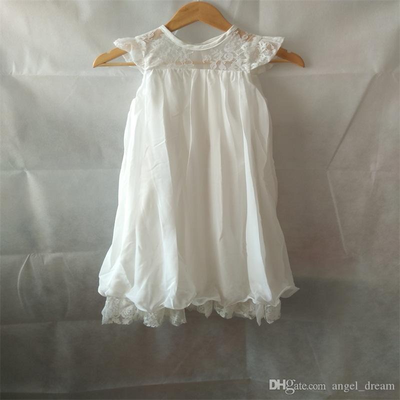 Hot Sale Flower Girl Dresses for Wedding White/Ivory High Neck Princess Party Communion Pageant Dress Little Girls Kids/Children Dress