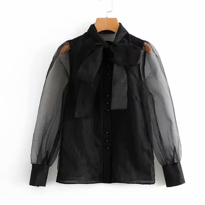 المرأة خمر مثير شفاف القوس تعادل الياقة عادية الأسود الأورجانزا بلوزة قميص سيدات الأعمال الأنثى Blusas شيك بلايز Y200103