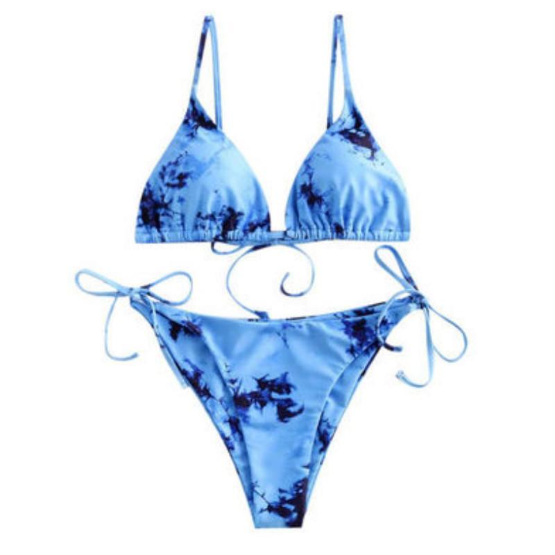 Tie-dye 20ss costume da bagno sexy delle nuove donne di rendering stampato Bikini su due lati multicolore Trendy Lace Up Stampato signora Swimwear Bikini all'ingrosso