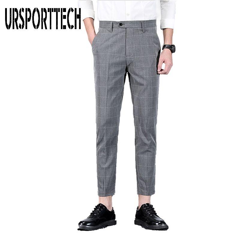 2020 New Spring Summer Mens Plaid Pants Male Smart Casual Skinny Trousers Men Slim Fit Business Suit Pants Black Blue Gray