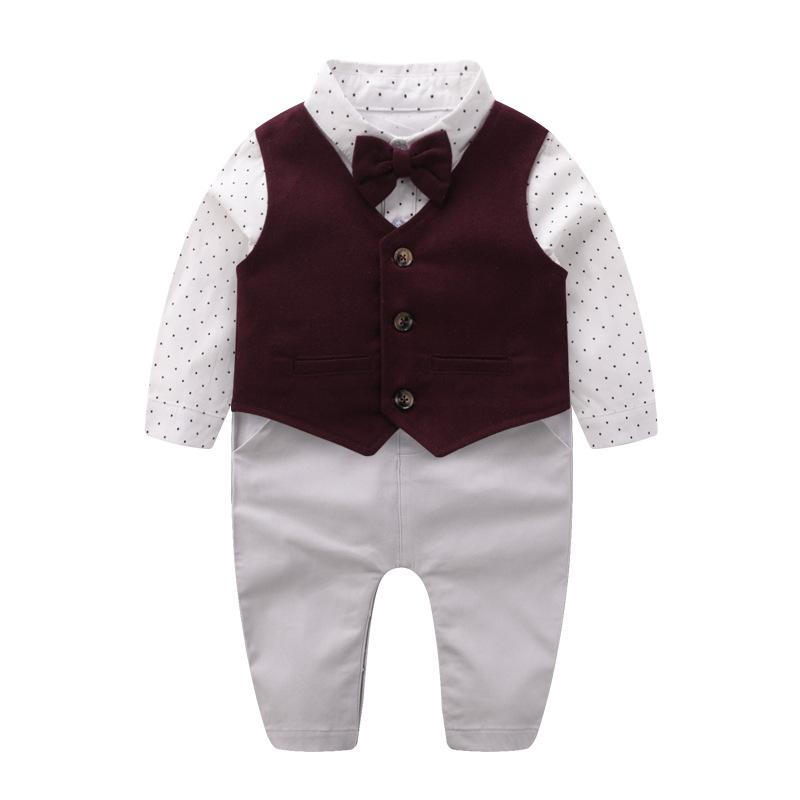 2020 Newborn Baby Clothes Baby Gentleman Clothes Spring Vest Kids Rompers Bow Tie Romper Dress Set