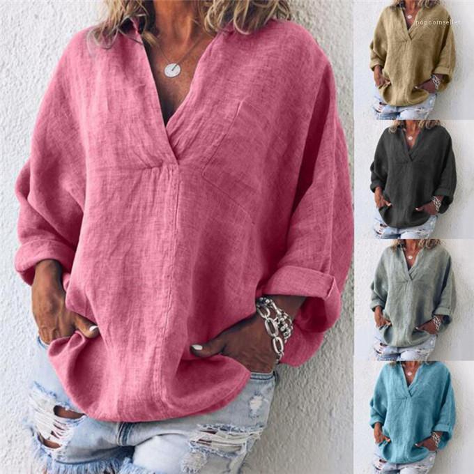 İlkbahar Yaz Gevşek Bayanlar Renkli tişörtleri Uzun Kollu V-Yaka Bayan Tops