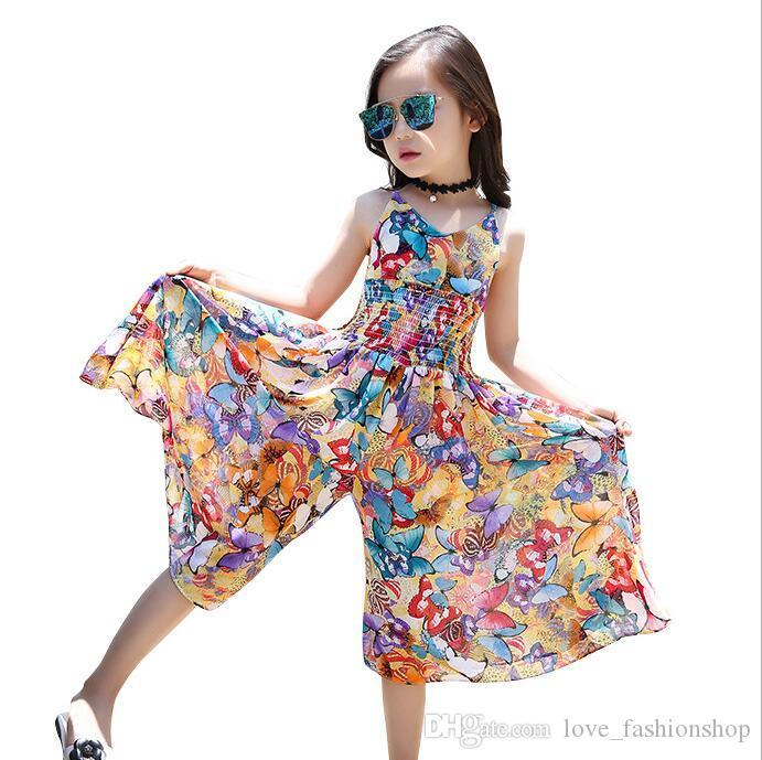 Girls dress Summer Bohemian Floral Chiffon suspender Beach Loose Jumpsuits baby girl dresses kids boutique designer Clothing