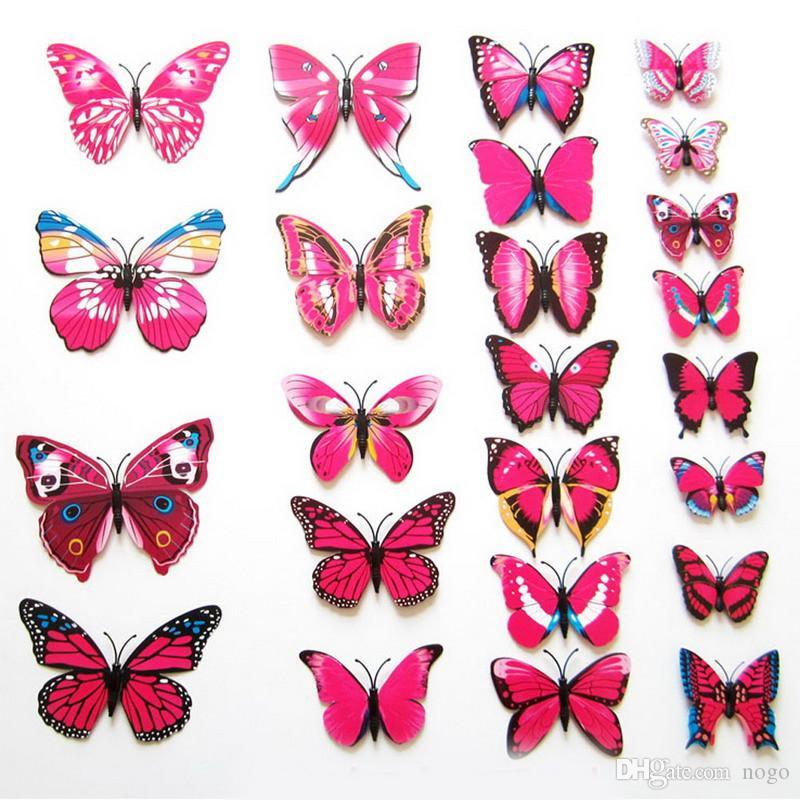 Adesivi murali 3D fai da te magnete in PVC farfalle fai da te per la camera dei bambini festa di natale cucina frigorifero decalcomania