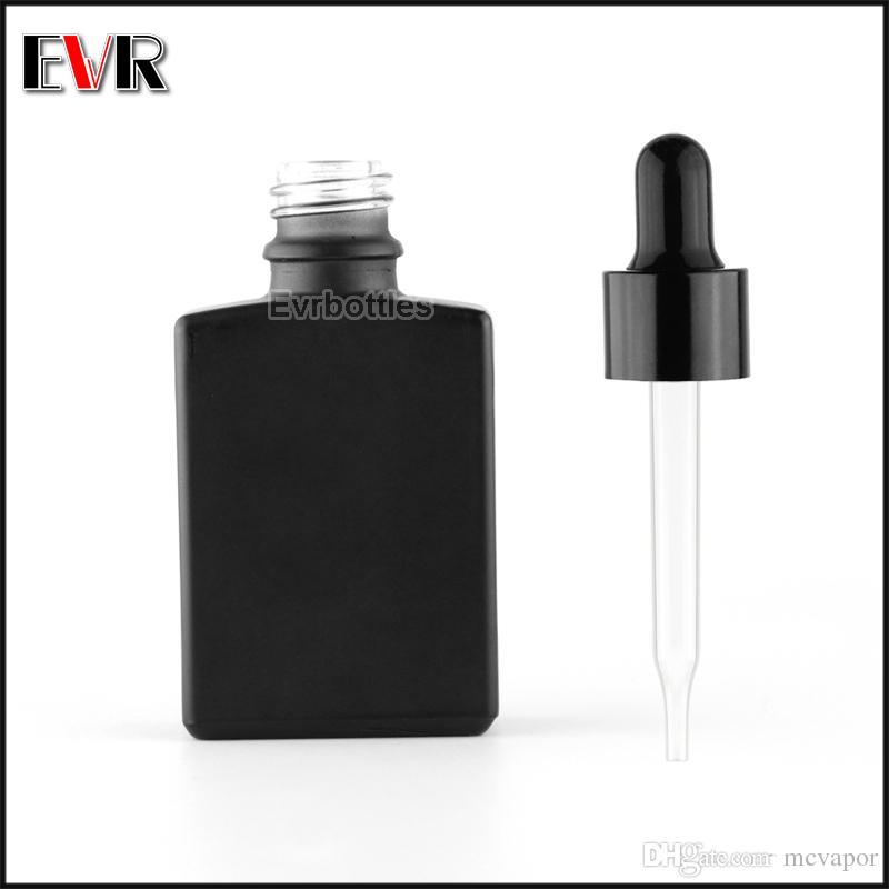 블랙 알루미늄 스크류 캡 도매 30 ml 프 로스트 검은 직사각형 / 사각형 수염 기름 유리 dropper 병