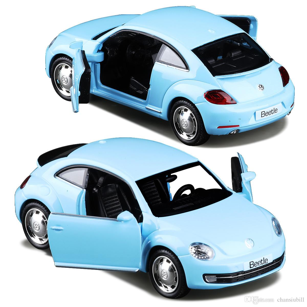 1:36 Alloy Diecast Metal Car Model For The New Volkswagen Beetle Collection Model Pull Back Car Toys - Red / Sky Blue
