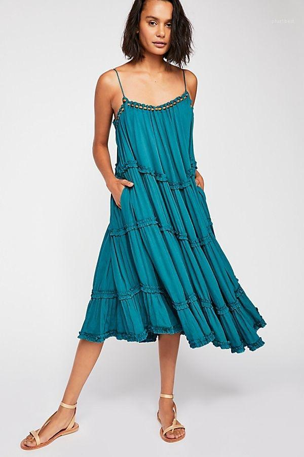 Vestuário feminino cor sólida Womens Designer Casual Fashion Dress Spaghetti Strap Bohemian vestidos soltos Beading plissadas