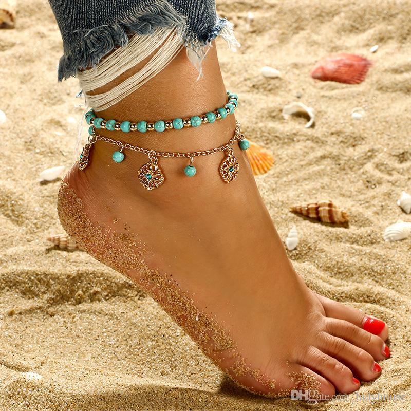 Boho Turquoise Ankle Bracelet Women Anklet Adjustable Chain Foot Beach Jewelry