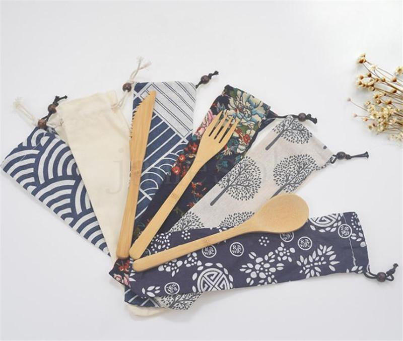 Ecológico Bambú Cubiertos Cuchillo Tenedor Cuchara 3pcs / set portátil Cubiertos Con el bolso del paño del estudiante del vajilla del viaje de vajilla DA325