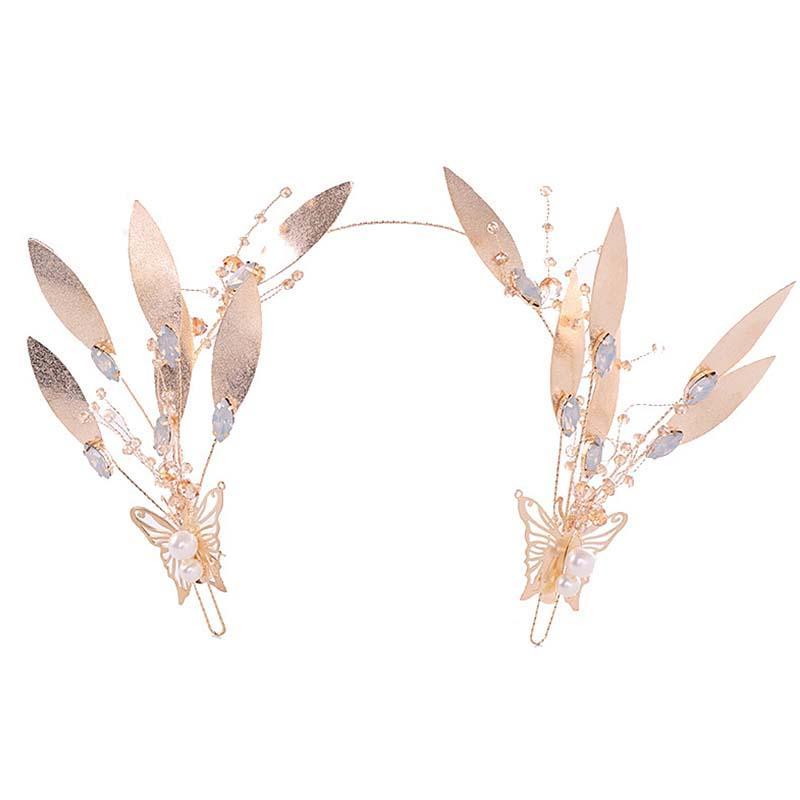 Señoras de estilo vintage planta tocados nupcial boda barroca joyería del pelo mujeres hechas a mano de metal rosa banda de pelo hoja de oro