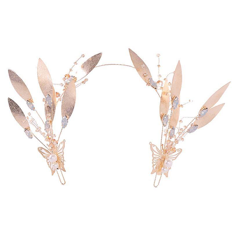 Damen Vintage Stil Pflanzen Kopfbedeckungen Braut Hochzeit Barock Haarschmuck Frauen Handgefertigte Metall Rose Gold Leaf Haarband