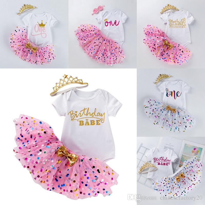 INS Baby Tutu Dot Skirt With Bow & Romper & Crown Headband 3pcs/set Girls Birthday Photography Dress Kids Halloween Princess Party Clothe