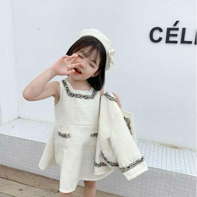 Mode bébé Enfants Bébés filles anniversaire à manches longues à carreaux Chanvre Pageant Coat + Tutu sans manches de partie de robe Tenues Vêtements Ensembles