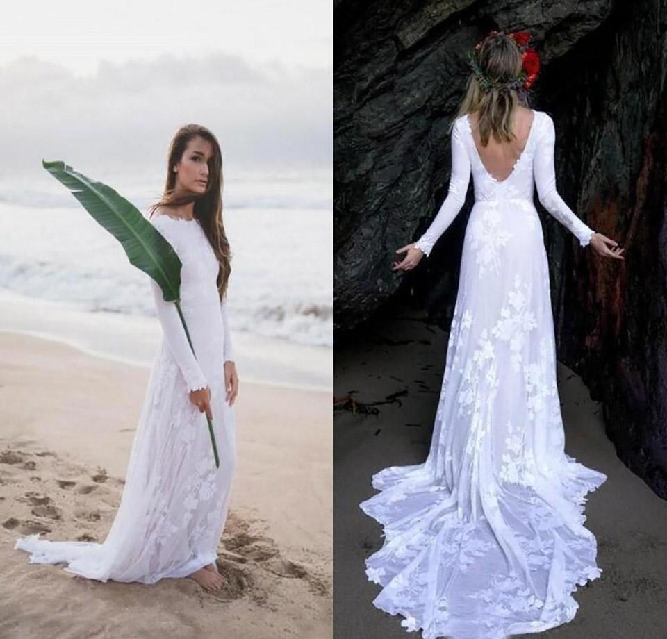 Plage simple élégant mariage d'été Robes en dentelle à manches longues Sexy Back Robes de mariée Robes de mariée pas cher Jardins mer Robe Mer