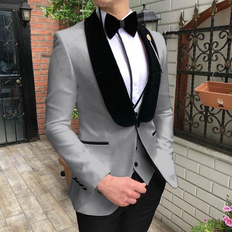 XZ20 Champagner schwarze Schale Revers Hochzeit Anzüge für Männer nach Maße Terno Slim Fit Bräutigam Gewohnheit 3 Stücke Man Suit Masculino 2020