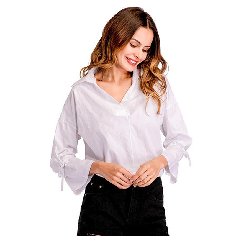 progettista delle donne a righe camicia del pullover bavero casuale allentata della camicia Donne