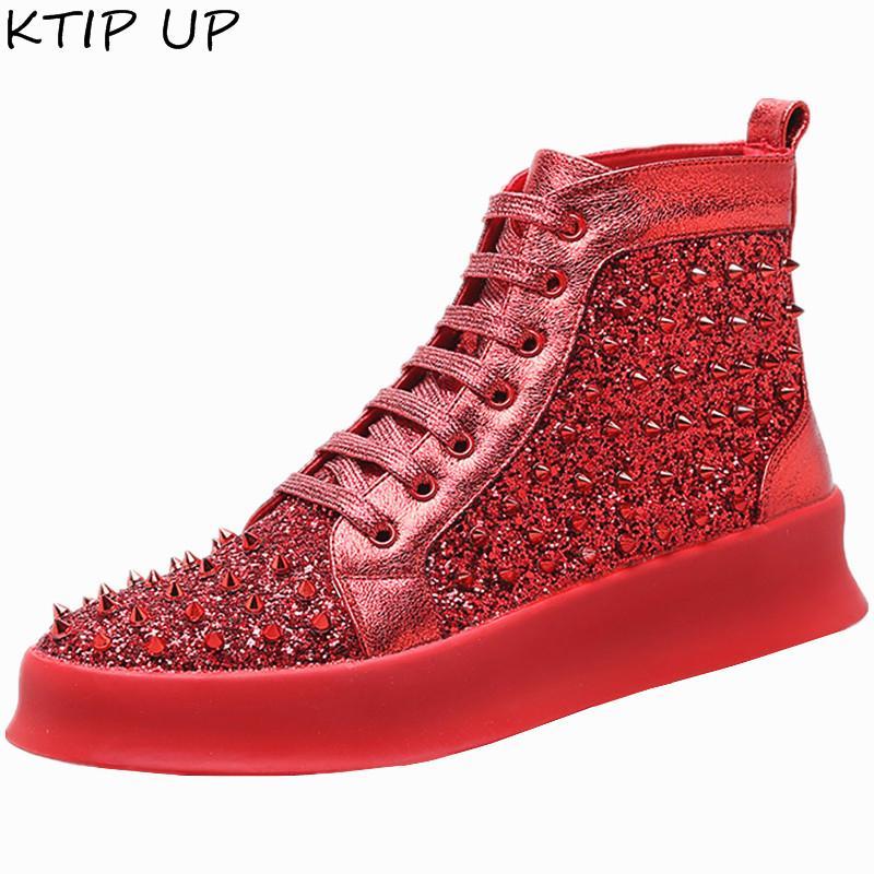 Primavera Autunno Moda Rivet Sneakers Scarpe Uomo Moda Stivaletti Stivaletti uomo Lace up Hip hop Scarpe casual