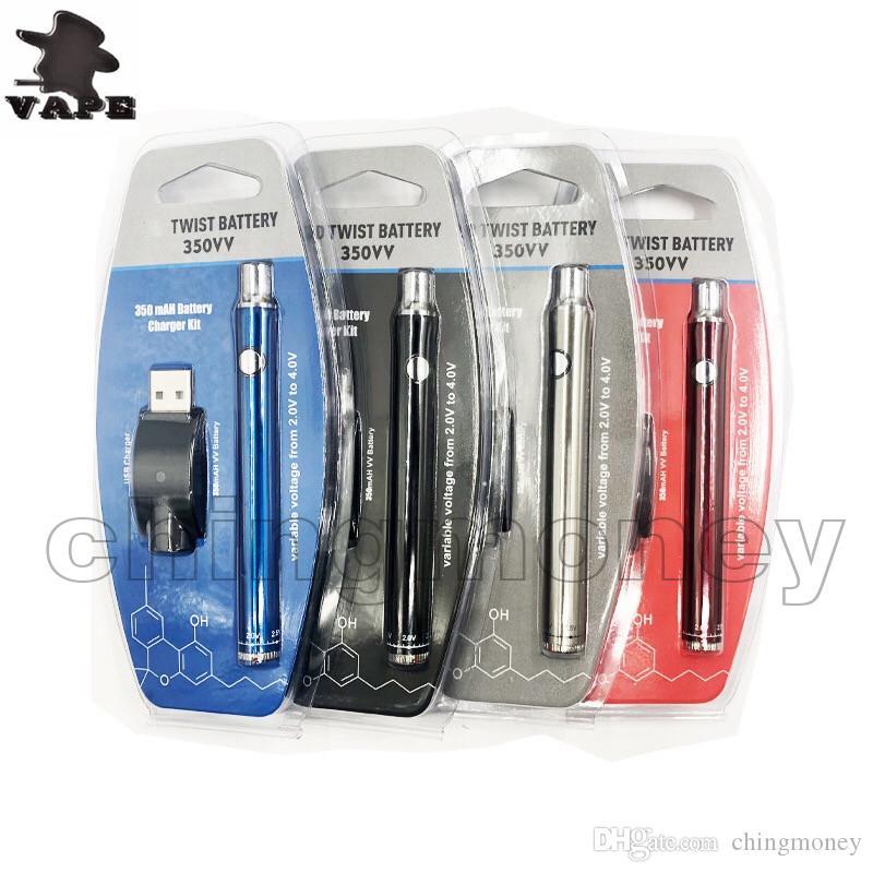 Büküm Pil 350 mAh Kartuş BUD Dokunmatik Vape Kalem Değişken Gerilim CE3 E10 Spinner Pil USB Şarj Ile CE3