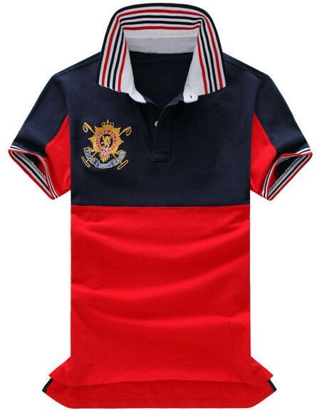 2019 남자의 폴로 셔츠 중간 줄무늬 큰 조랑말 자수 반팔 스포츠 폴로 코튼 폴로 셔츠 티셔츠 무료 배송