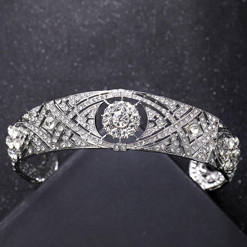 Tiaras Ve Taçlar Gelin Düğün Saç Aksesuarları-Alaşım Kristal Rhinestone Bayan Saç Süsler Lüks Takı Prenses Şapkalar