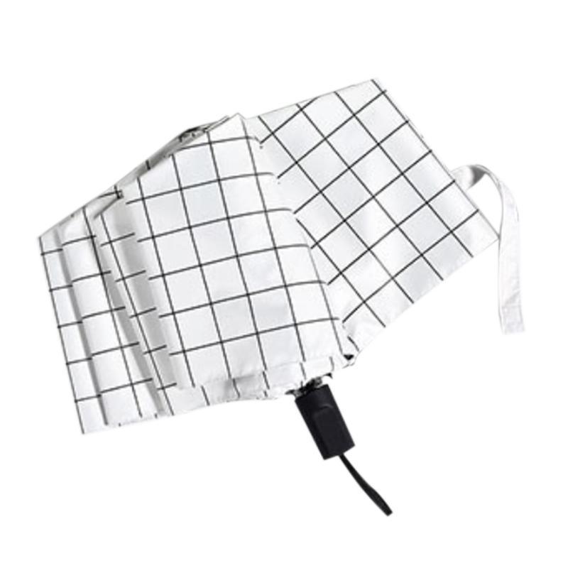 Paraguas totalmente automática de paraguas de rejilla a rayas, traje a prueba de viento fuerte para mujeres hombres