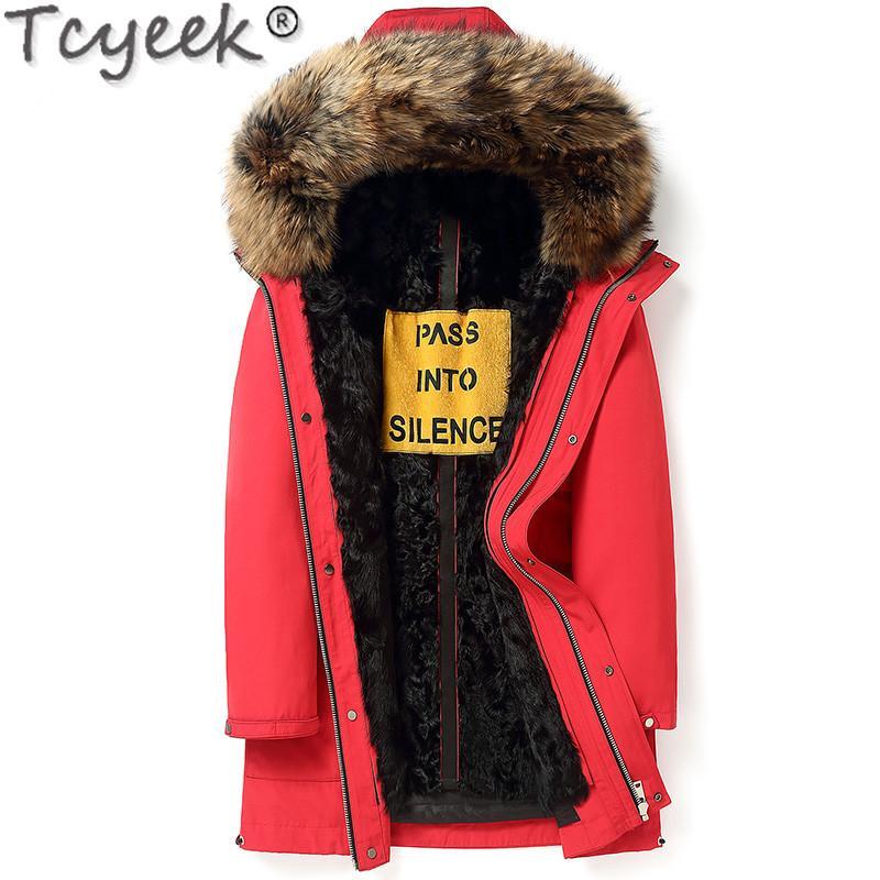 Homme Parka Laine réel doublure de veste de manteau d'hiver des hommes fourrure de raton laveur collier long manteau grande taille Homme Veste FGB-18095 MY1225