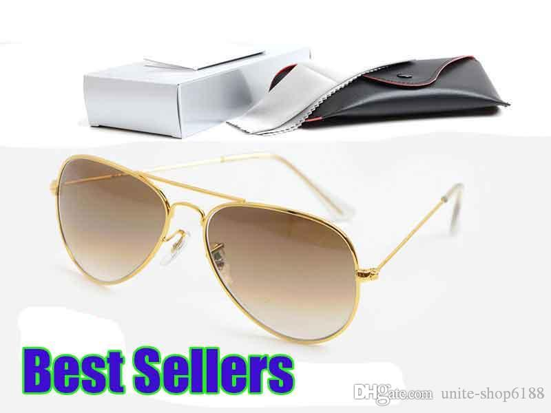 Fashion New Designer Gradient Sunglasses Metal Mens and Womens Sun glasses Classic Brand Pilot Glasses Glass Lens Gradient Eyewear 58mm Lens