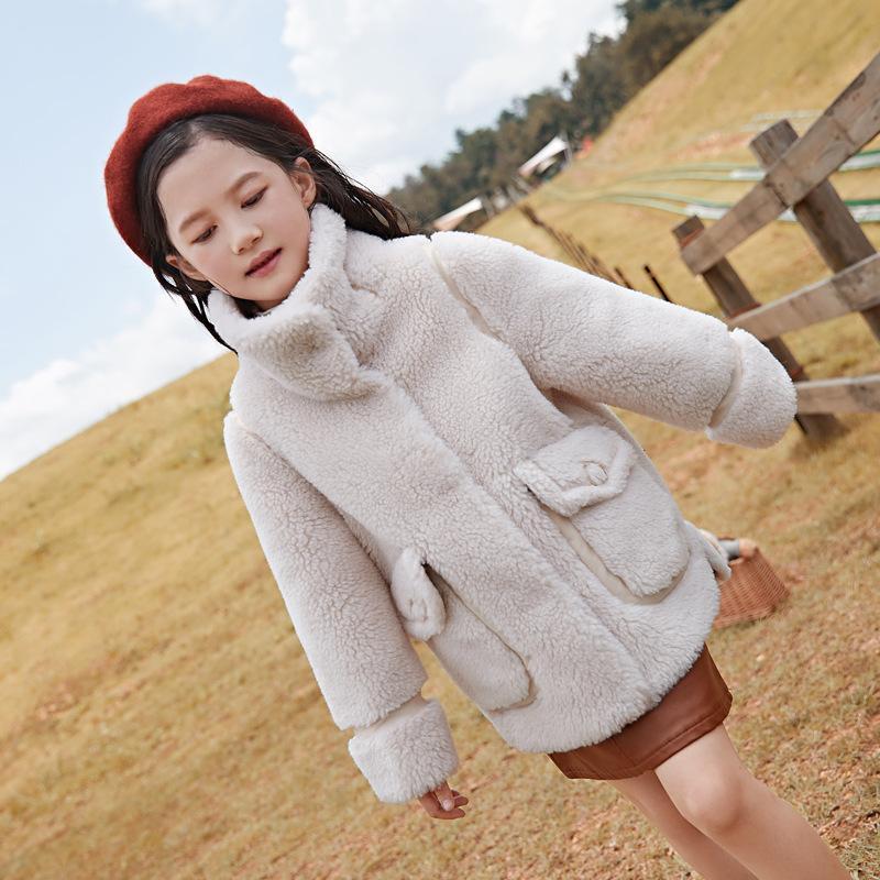 Sólida capa de las lanas del color real de los niños para chicos, chicas otoño invierno abrigo rompevientos 5-12Years Niños Prendas de abrigo