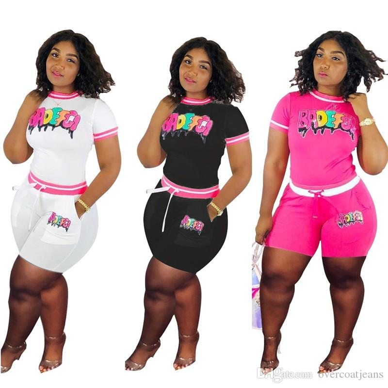 BADEFGI Letters Patchwork Women Tracksuit 2019 Fashion Paillette Romper Two Pieces Set Summer Short T-shirt+shorts Sportswear Clothing
