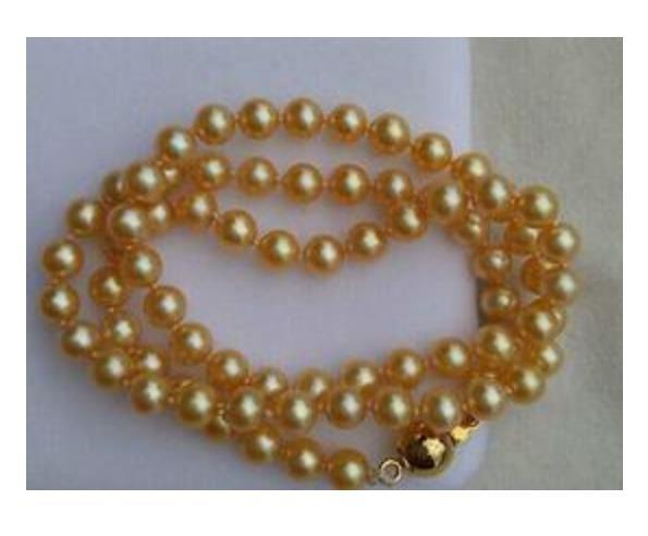 9-10MM SOUTH SEA ROUND GOLDEN PEARL NECKLACE 20 INCH 14K GOLD