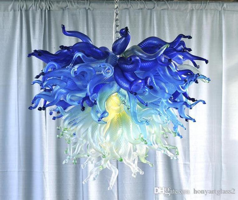 Livraison gratuite 100% soufflés à la bouche borosilicate Décoration pendentif en cristal clair pour salle à manger en verre de Murano Lustre