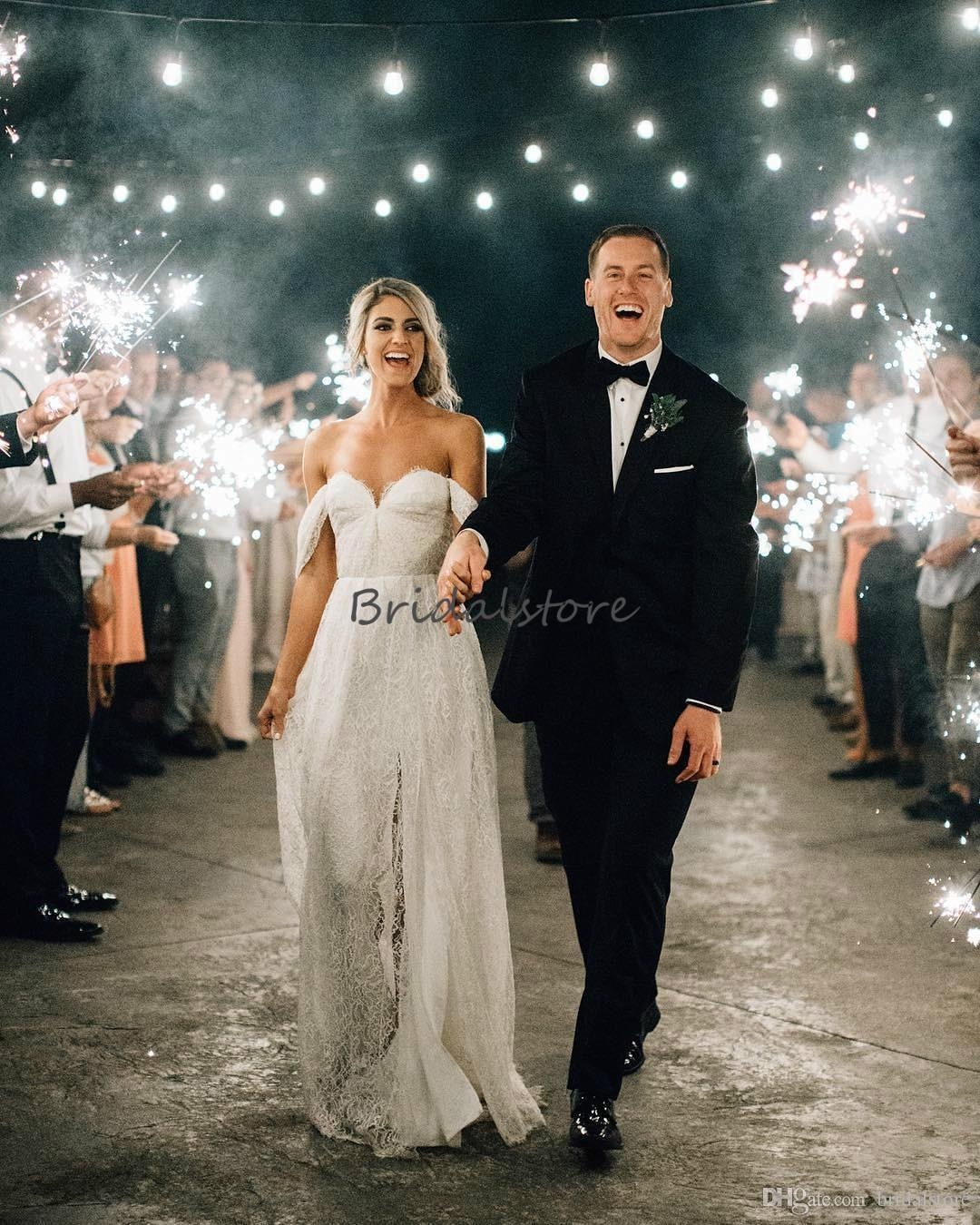 Discount Elegant Off Shoulder Bohemian Wedding Dresses Full Lace Open Front Summer Beach Wedding Dress Uk Cheap Western Robes De Mariee Boheme 2019 Wedding Gowns Cheap Bride Gown From Bridalstore 115 58 Dhgate Com,Long Navy Blue Dress For Wedding