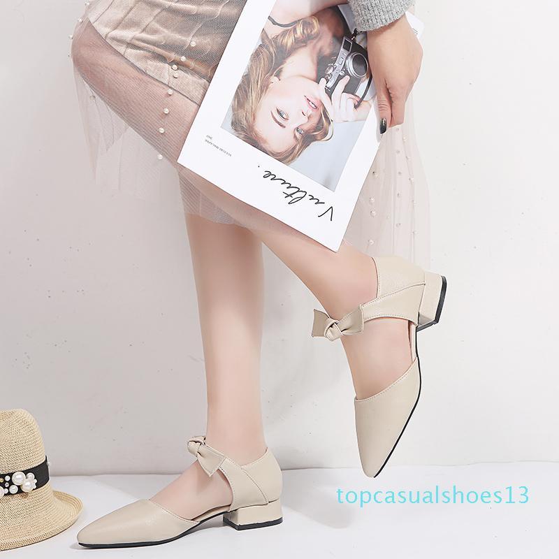 OllyMurs Frauen Sandalen Fashion Sommer niedriger Ferse-Pumpen-Schuh-Schmetterlings-Knoten-Beleg auf Büro Ladys Kleid Sandalen Schuhe t13