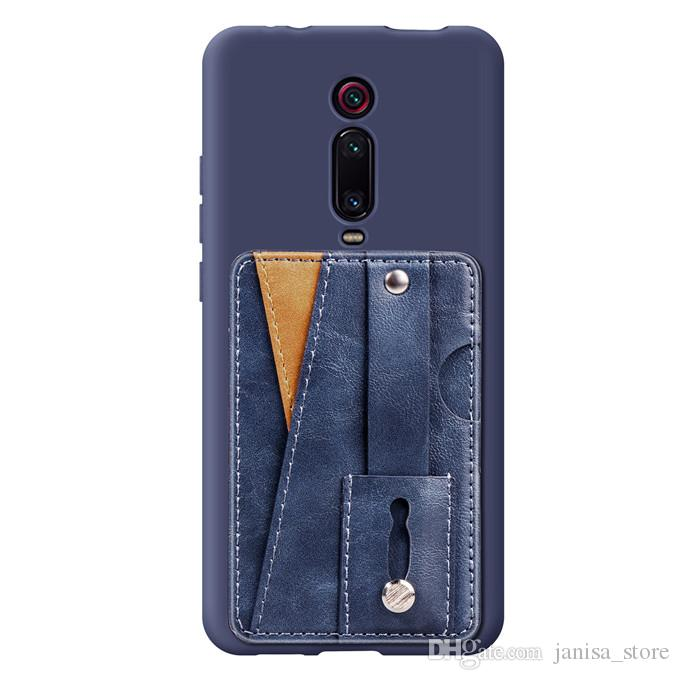 الجملة متعددة الوظائف بو الجلود الهاتف الخلفي جيب بطاقة الأعمال مع حامل الطوق fouction بطاقة الائتمان محفظة جيب ل Redmi K20