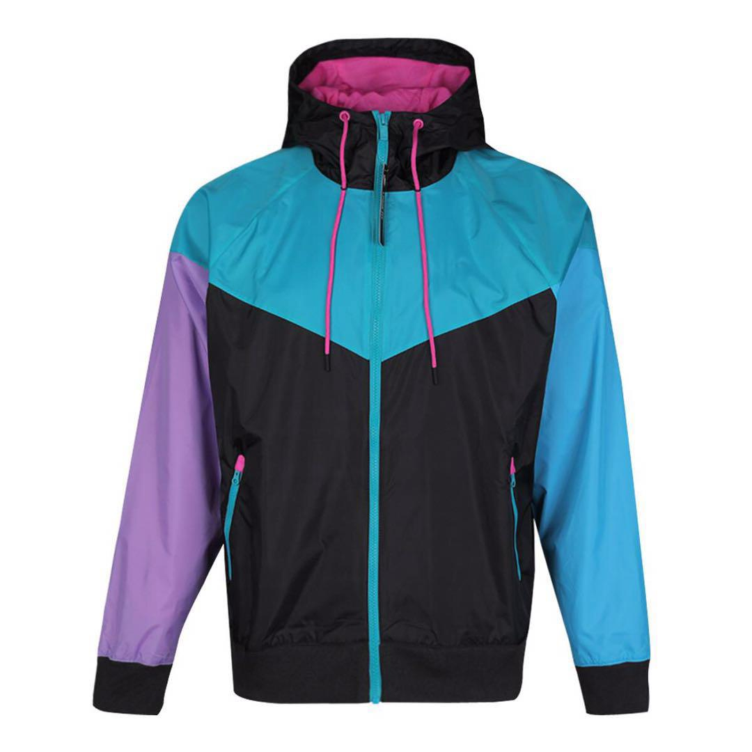 2019 Outdoor con cappuccio Mens Jackets Sport Windbreaker Patchwork cappotti Stampa Zipper Felpe Esecuzione Outwear all'ingrosso S-2XL NE6219