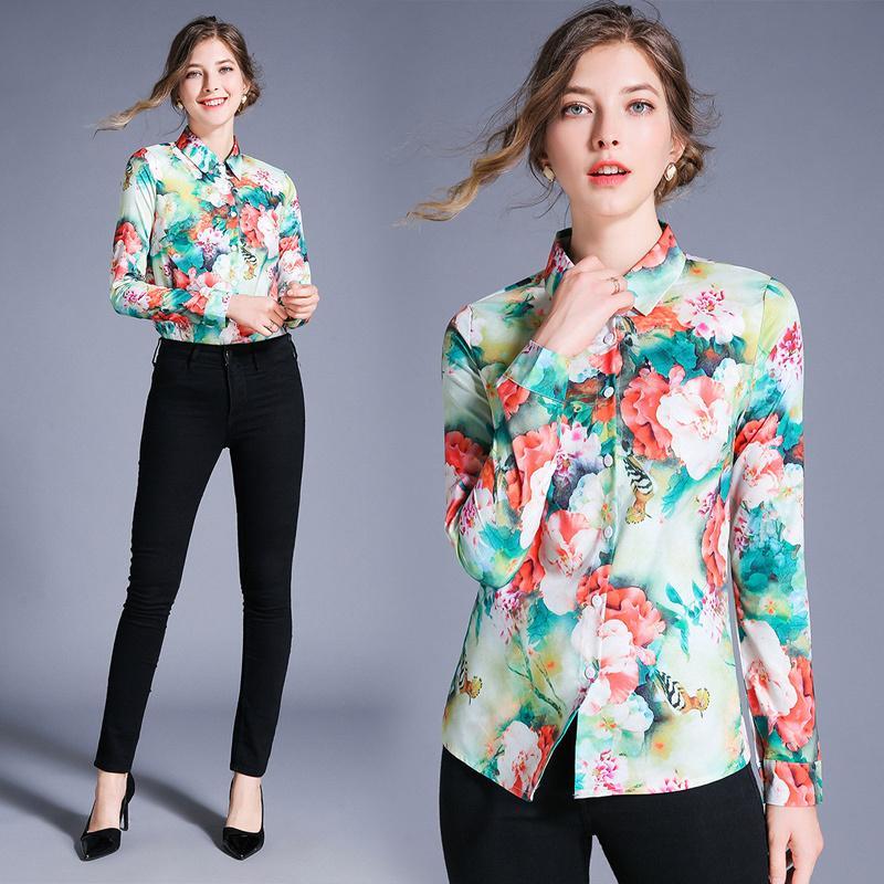 Atacado 2020 Primavera Verão Runway Luxo Floral Imprimir Collar manga comprida Botão Womens Ladies Frente OL Casual Tops Blusa