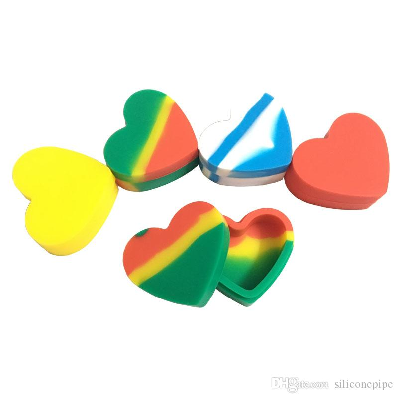 100 X Dab Containers Silicone Wax Jars 18ml Heart Shape Food Grade Non Stick Silicone Storage Container Free Shipping