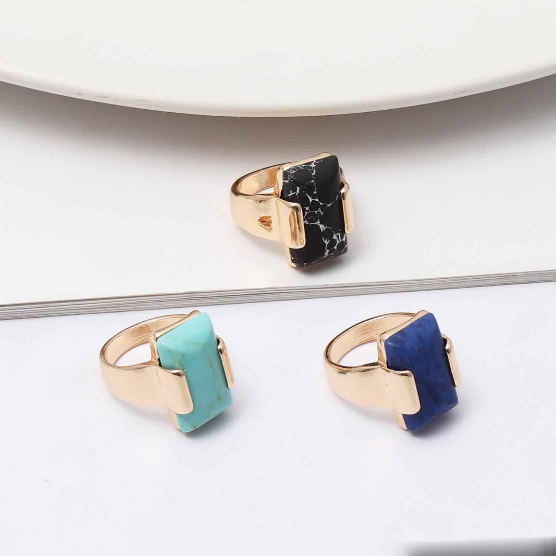 Fashion Black GreenTurquoise Ring for Women Jewelry Gold Natural Stone Geometry rectangle Kallaite Black Ring