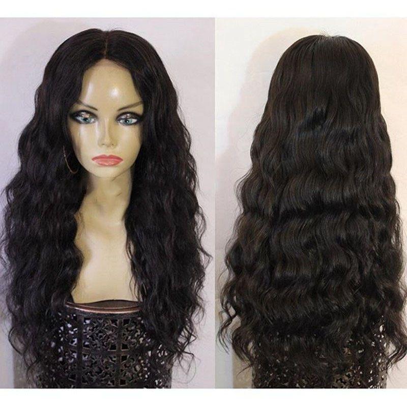 Frente del cordón de la peluca del cordón del color natural brasileño de la Virgen completa la onda del cuerpo del pelo de la peluca de la peluca sin cola densidad de 130% con el pelo del bebé
