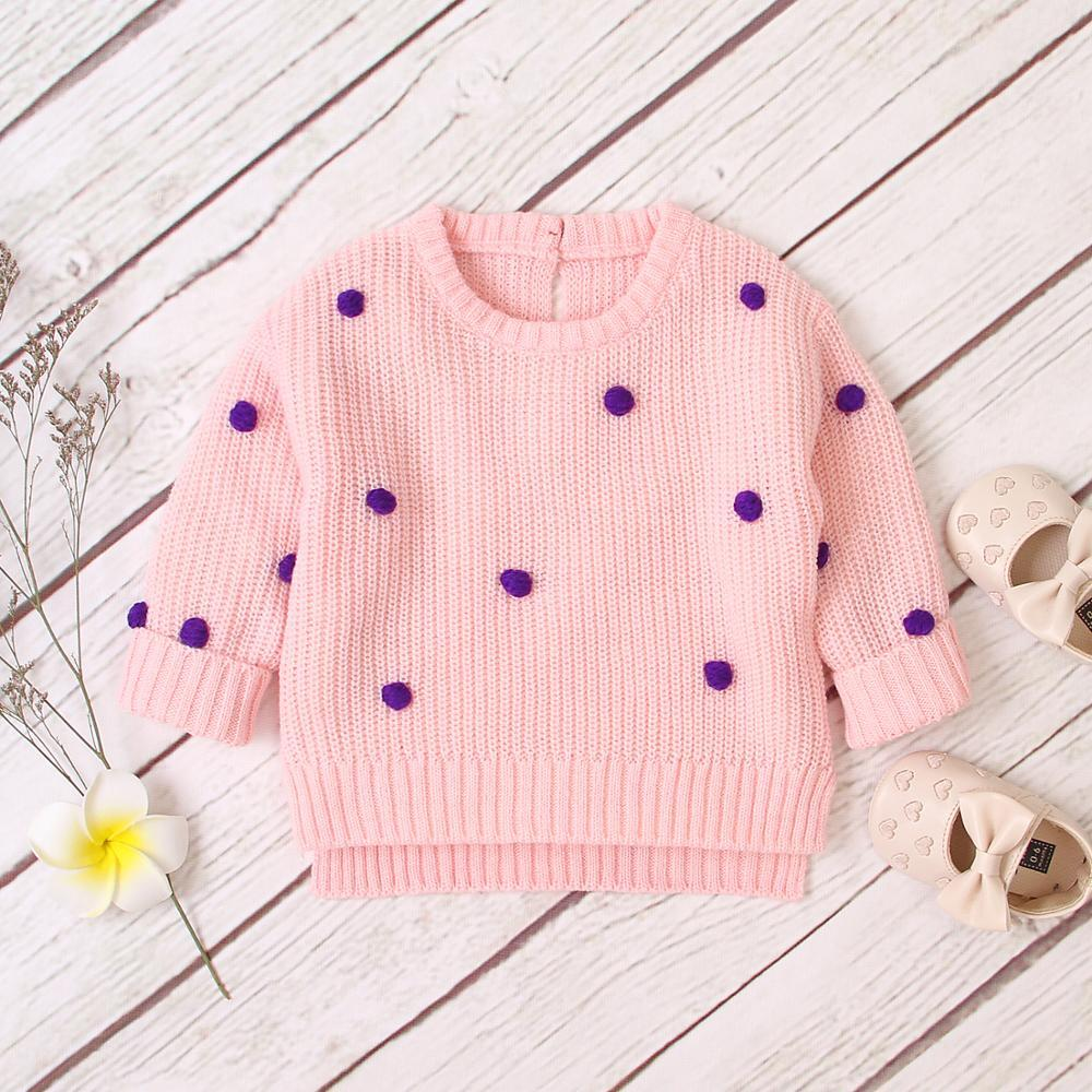 Baby Sweaters For Girls Fashion Dots Knitted Pullovers Jumpers Autumn Casual Newborn Boys Knitwear Tops Long Sleeve Kids