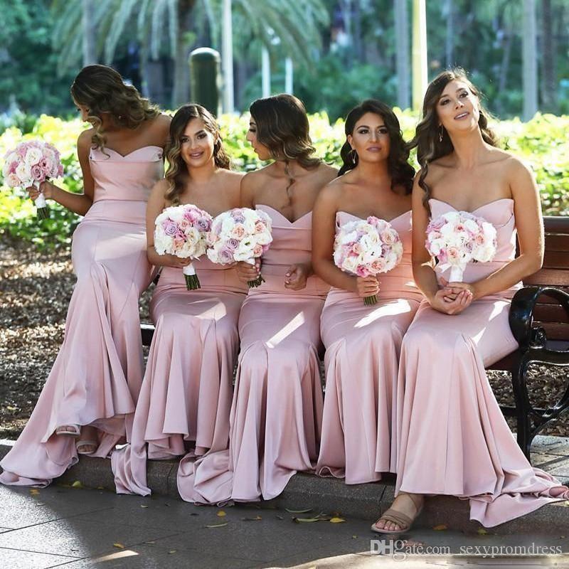 Querida rosa longo da dama de honra vestidos de verão 2019 babados de cetim sereia empregada de honra vestidos para o casamento plus size vestido de dama de honra barato