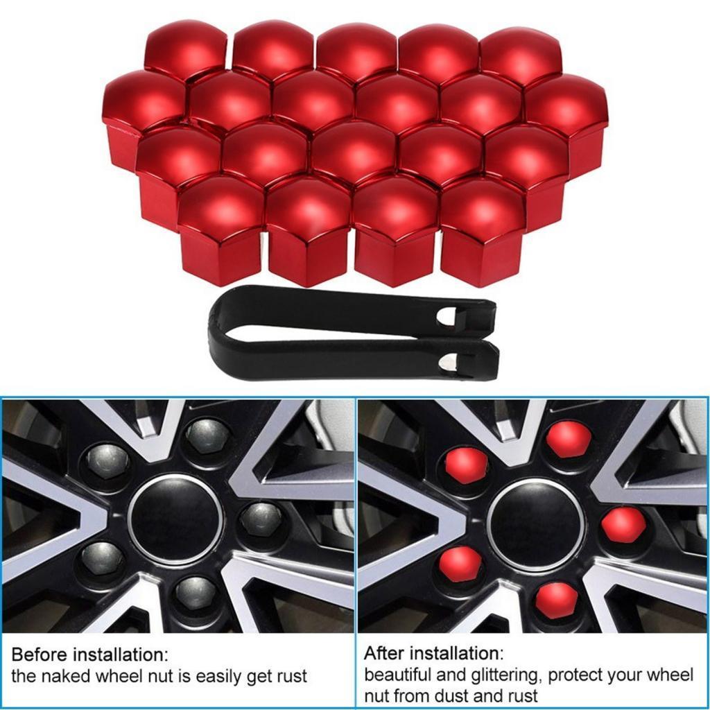 40pcs Universal 21 milímetros Roda Porca Cobre Lug Nut tampas de rosca Protector vermelhos