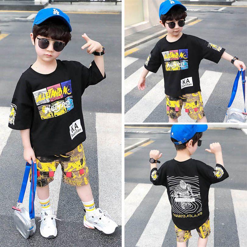 Fashion Summer kids suits casual boys suits cartoon boys outfits short sleeve T shirt+Shorts 2pcs kids designer clothes boys clothes B1339