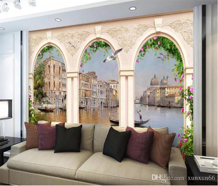 foto mural de parede 3d wallpaper óleo Europa mármore pilar de construção pintura aquosa cidade sofá TV quarto pano de fundo pintura mural da parede 3d