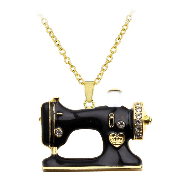 Заявление Эмаль Сплав Швейные машины Ожерелья Подвески Колье цепи Воротник Мода ювелирные изделия для женщин Аксессуары Девушка
