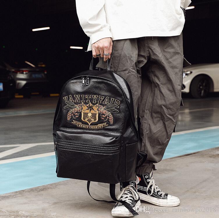 wholesale men handbag personalized embroidered men backpacks street trend printed leather student bags original design embroidered backpack