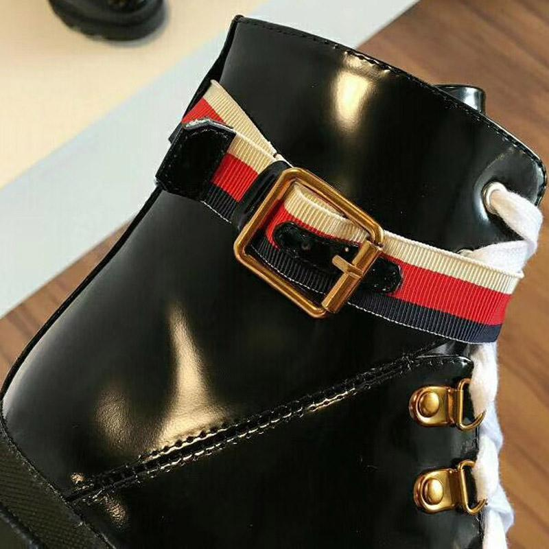 Fashion leather star women's shoes ladies leather short autumn and winter waterproof platform ankle designer fashion brand Martin boots